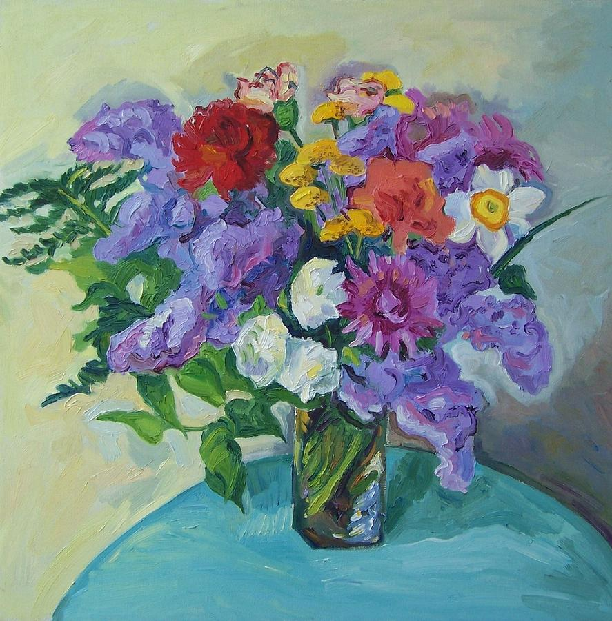 Big bouquet of flowers painting by aletha kuschan rose painting big bouquet of flowers by aletha kuschan izmirmasajfo