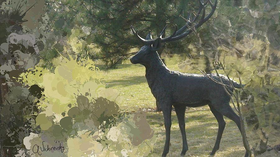 Deer Painting - Big Deer by Alexander Vishnevsky