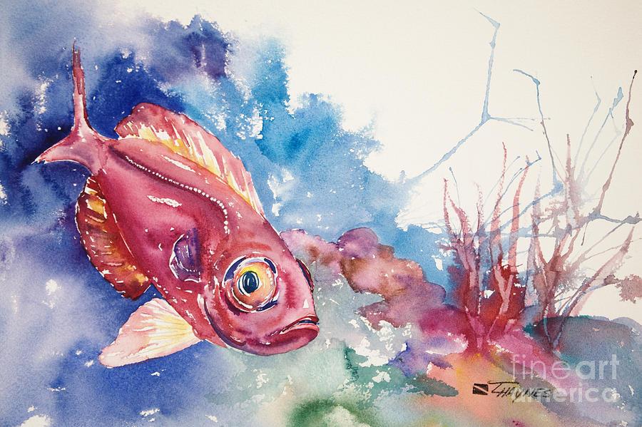 Aquatic Painting - Big Eye Squirrelfish by Tanya L Haynes - Printscapes