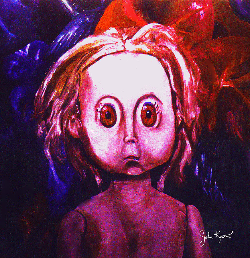 Dolls Painting - Big Eyed Dolly by John Keaton
