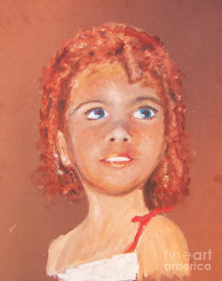 Red Hair Painting - Big Eyed Girl by Miles Mulloy