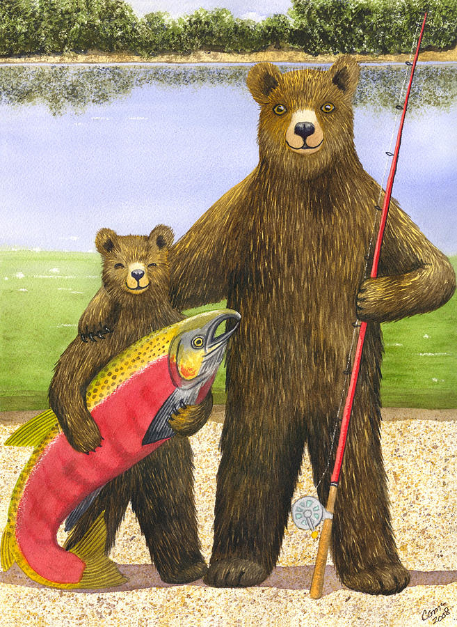 Bear Painting - Big Fish by Catherine G McElroy