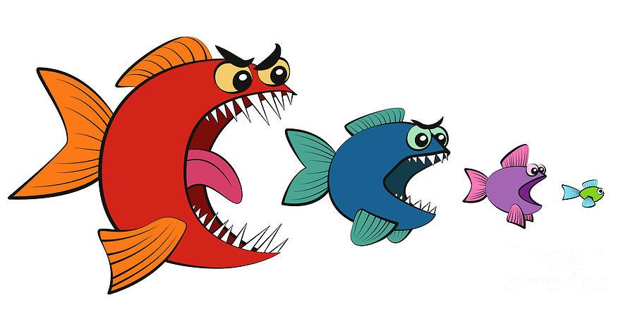 Big Fish Eating Small Fish Comic Digital Art by Peter Hermes Furian
