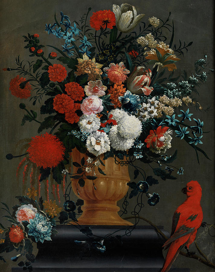 Fruits Painting -  Big Flowers Still Life With Red Parrot by Peter Casteels the Younger