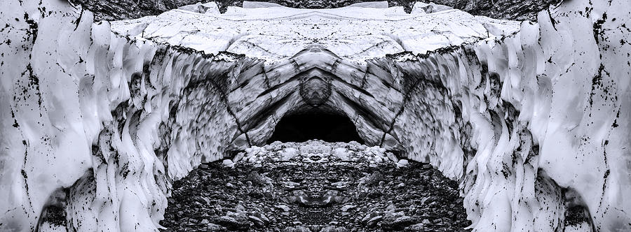 Big Four Ice Caves Reflection Black And White Digital Art