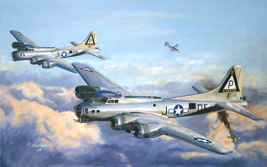 B-17 Painting - Big Friend  Little Friend by Karen Wilson