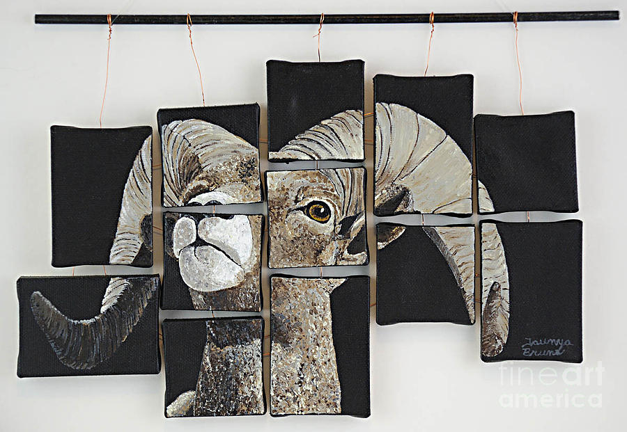 Wildlife Painting - Big Horn Fragments by Taunya Bruns