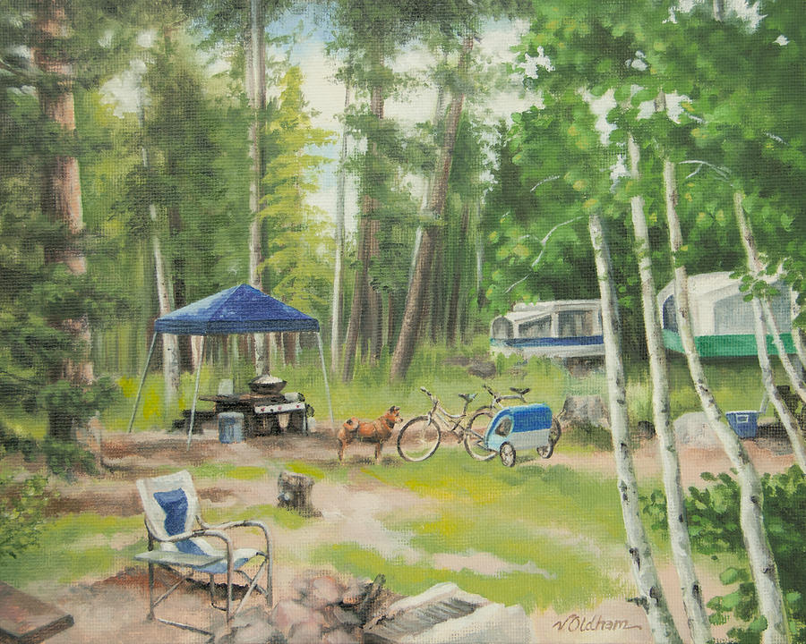 Camping Painting - Big Lake 2015 by Victoria Oldham