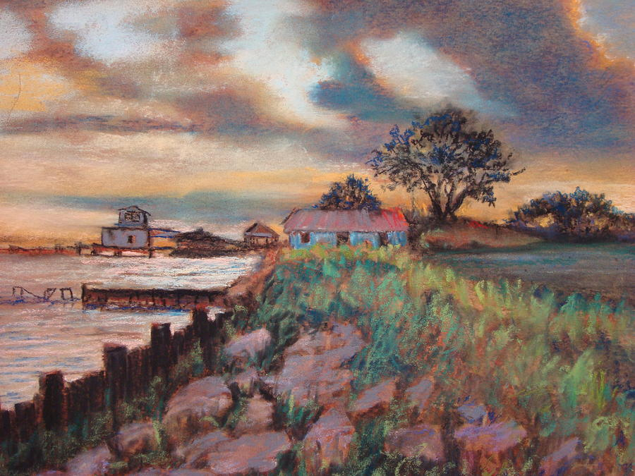 Pastels Painting - Big Lake Sunset by Anne Dentler