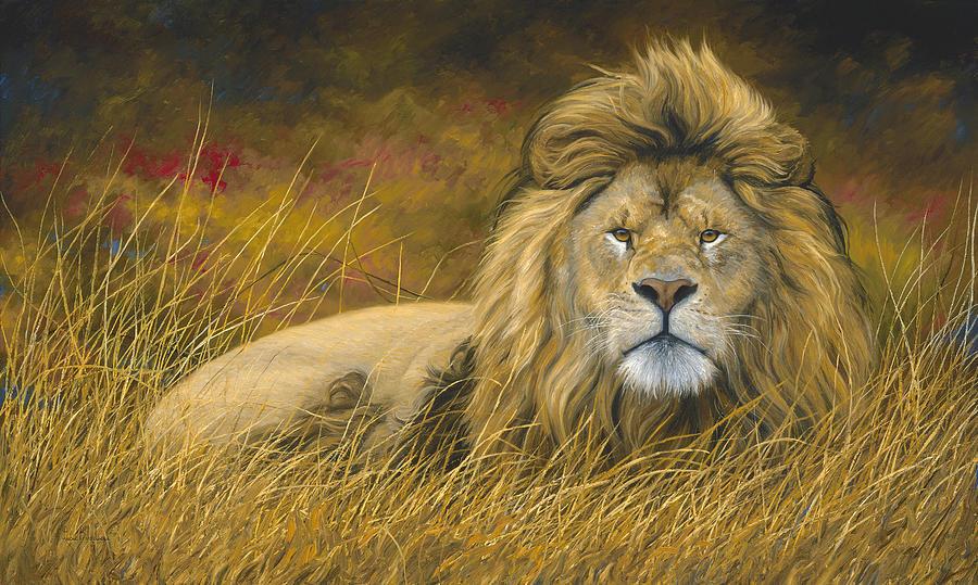 Big Lion Painting By Lucie Bilodeau