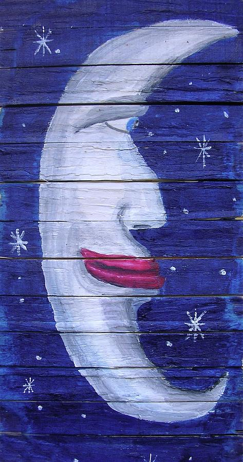 Moon Painting - Big Lipped Moon by Gordon Wendling