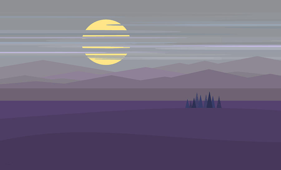Contemporary Landscape Digital Art - Big Moon At Twilight by Val Arie