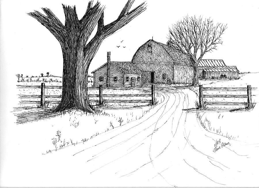 Farm Barn Drawing dairy farm drawings | fine art america