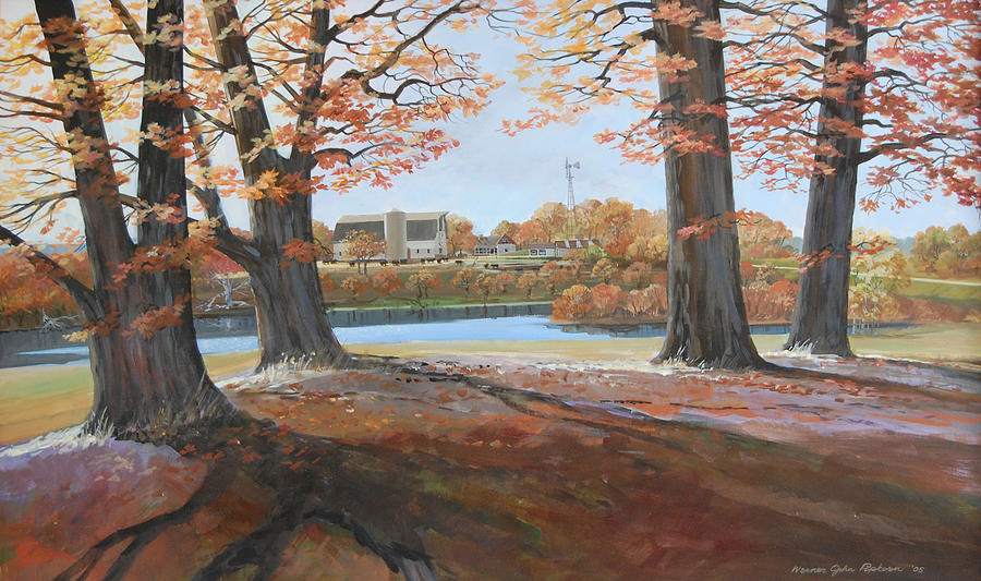 Big Oaks In Fall Painting by Werner Pipkorn