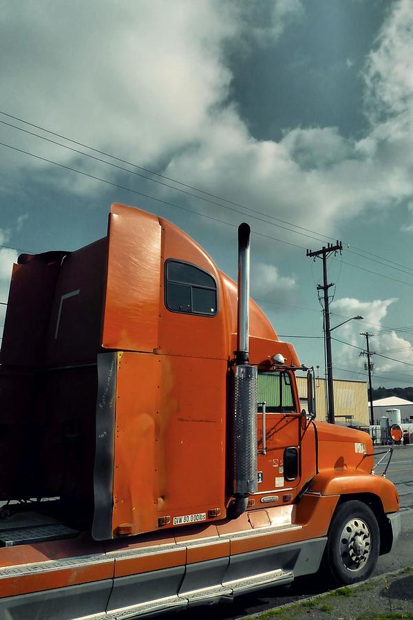 Truck Photograph - Big Orange Truck by Patricia Strand