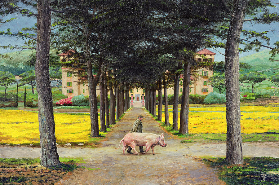 Yellow Flowers Painting - Big Pig - Pistoia -tuscany by Trevor Neal
