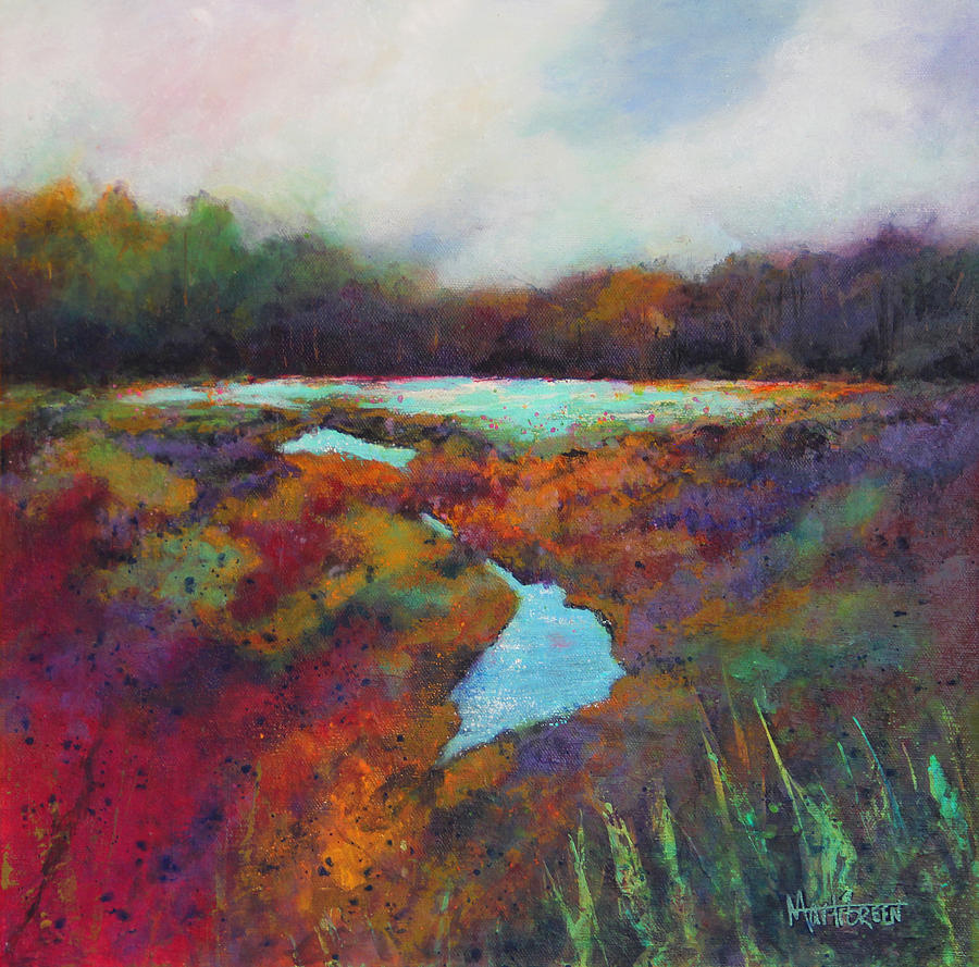Big Pond Painting - Big Pond In Fall Mc Cormick Woods by Marti Green