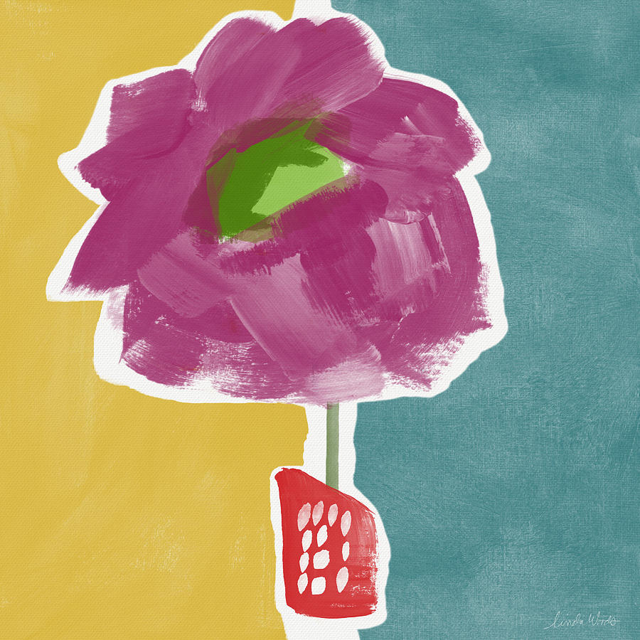 Big Purple Flower In A Small Vase- Art By Linda Woods Painting