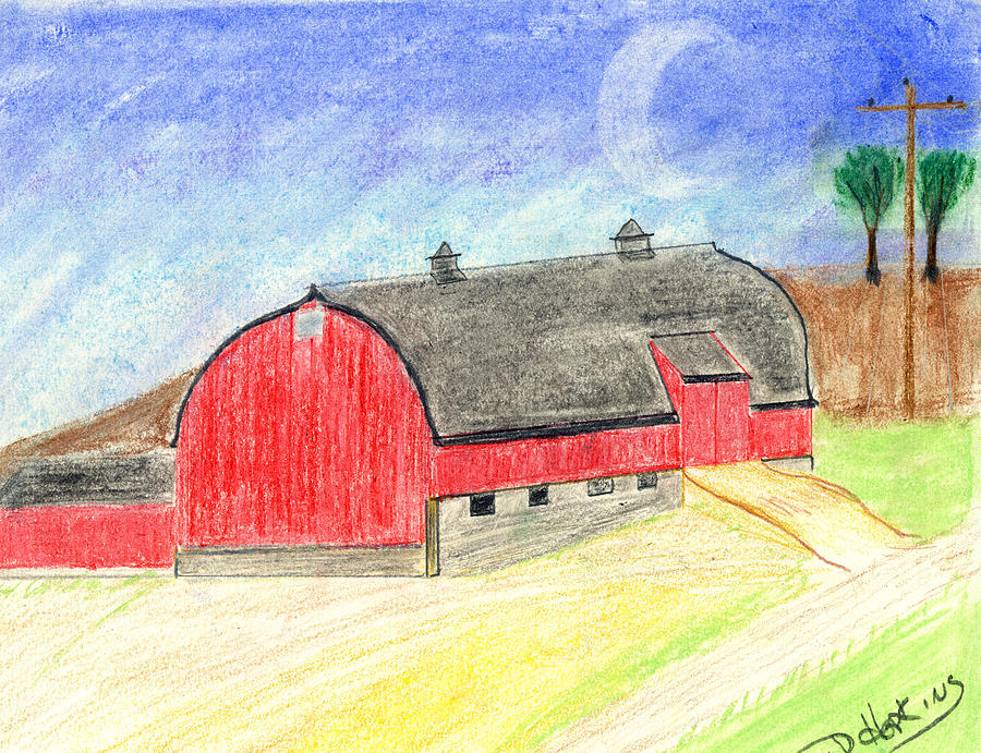 Red Barn Drawing - Big Red Barn by John Hoppy Hopkins