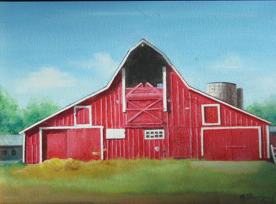 Big Red Barn Painting By Oz Freedgood