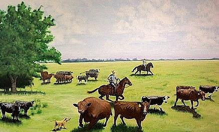 Landscape Painting - Big Red Defends His Girls by Charles Peck