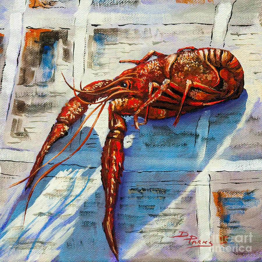 Crawfish Painting - Big Red by Dianne Parks