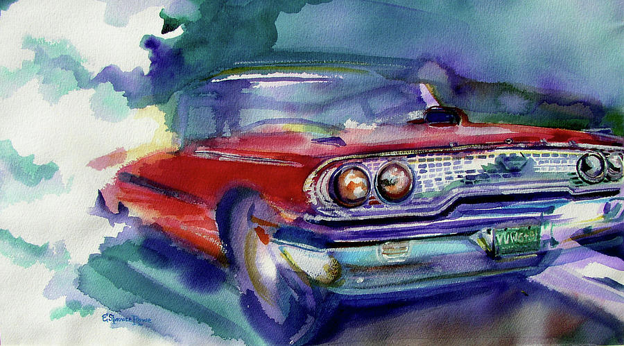 Watercolor Car Painting - Big Red by Evelyn Sprouse Rowe