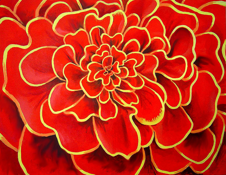 Diptych Painting - Big Red Flower by Geoff Greene