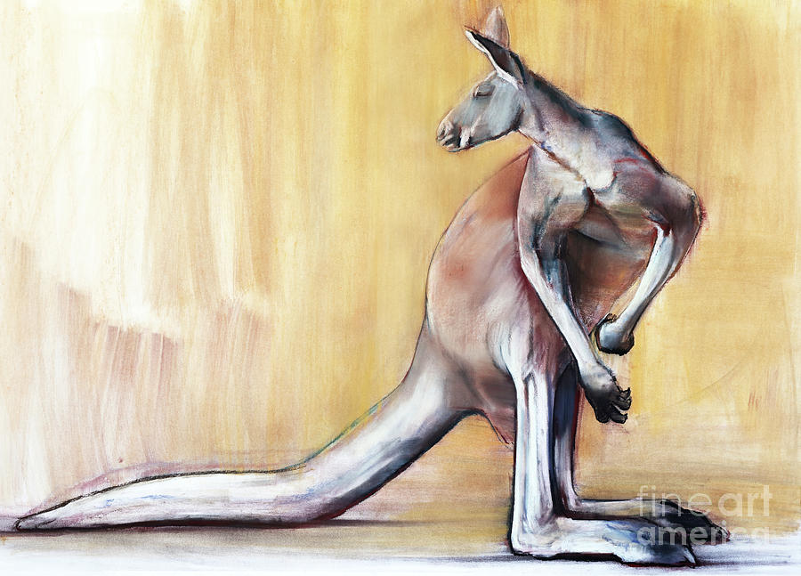 Red Kangaroo Painting - Big Red  Kangaroo by Mark Adlington