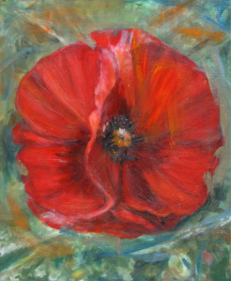 Red Poppy Mixed Media - Big Red Poppy by Denice Palanuk Wilson