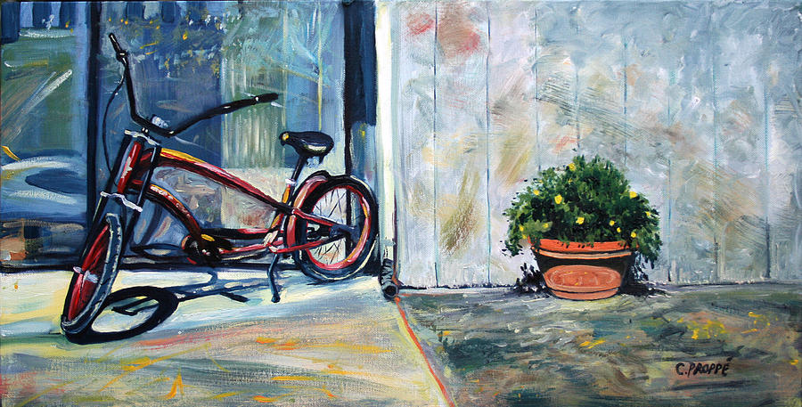 Red Bike Painting - Big Red Sausalito Cruiser by Colleen Proppe
