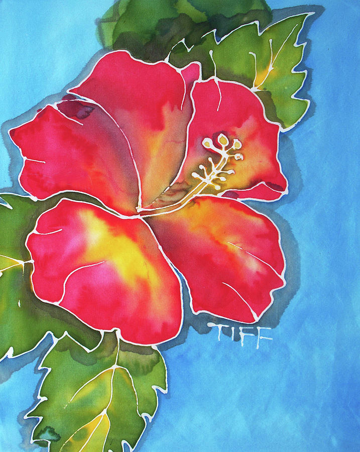 Red Hibiscus Painting - Big Red by Tiff