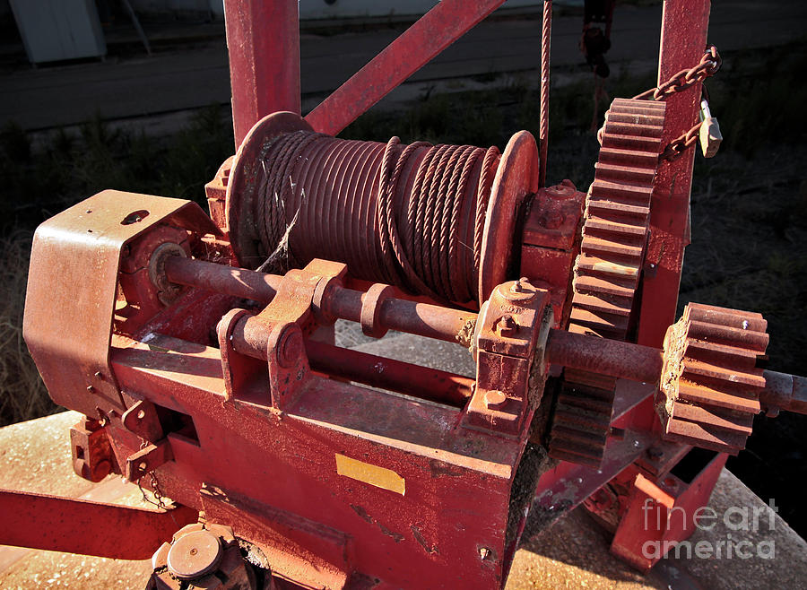 Red Photograph - Big Red Winch by Stephen Mitchell