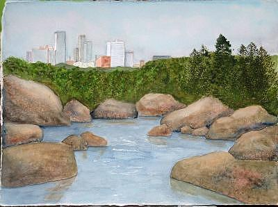 Rocks Painting - Big Rock Little Rock by Diane Ziemski