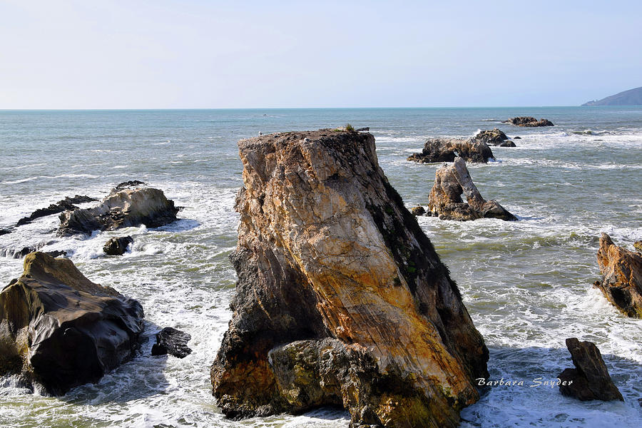 Big Rocks In Grey Water Photograph