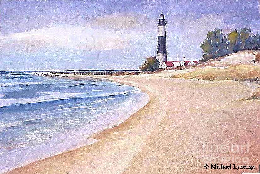 Lighthouse Painting - Big Sable Point South by Michael Lyzenga