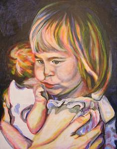 Child Painting - Big Sister by C D  Collins