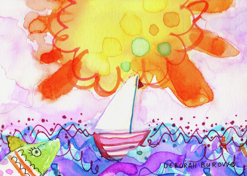 Big Sun And Sailboat Painting by Deborah Burow