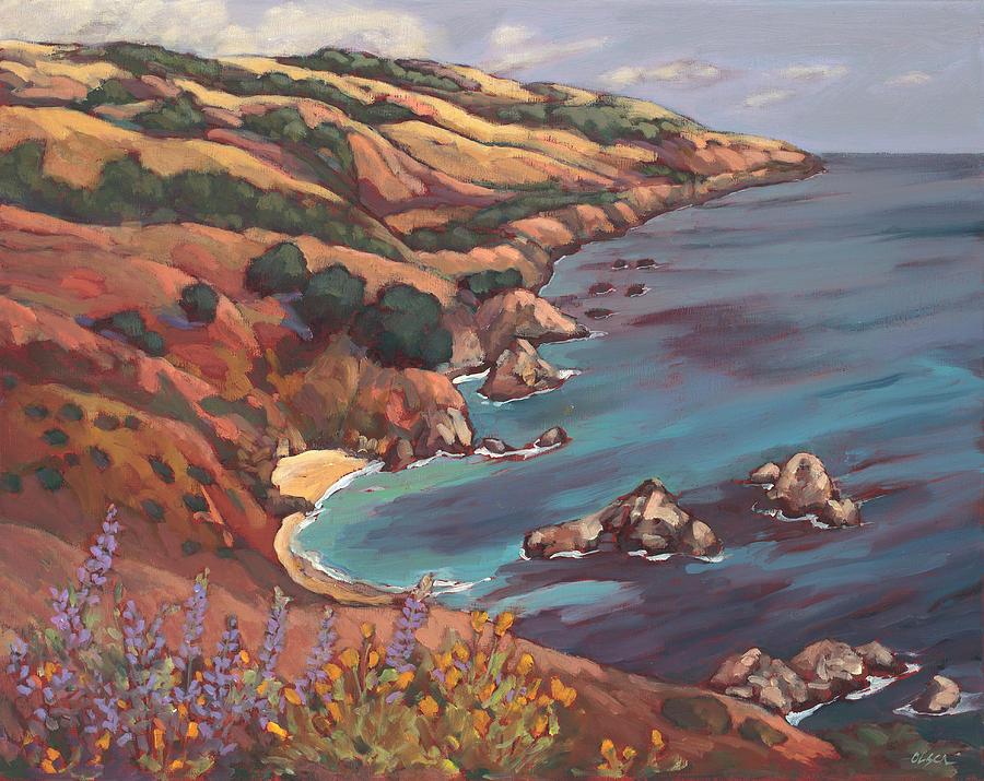 Ocean Painting - Big Sur Coast by Peggy Olsen