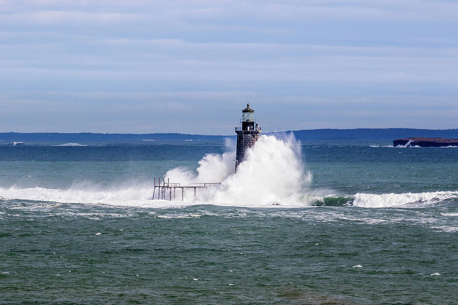 Big Wave Hits Ram Island Ledge Light by Darryl Hendricks