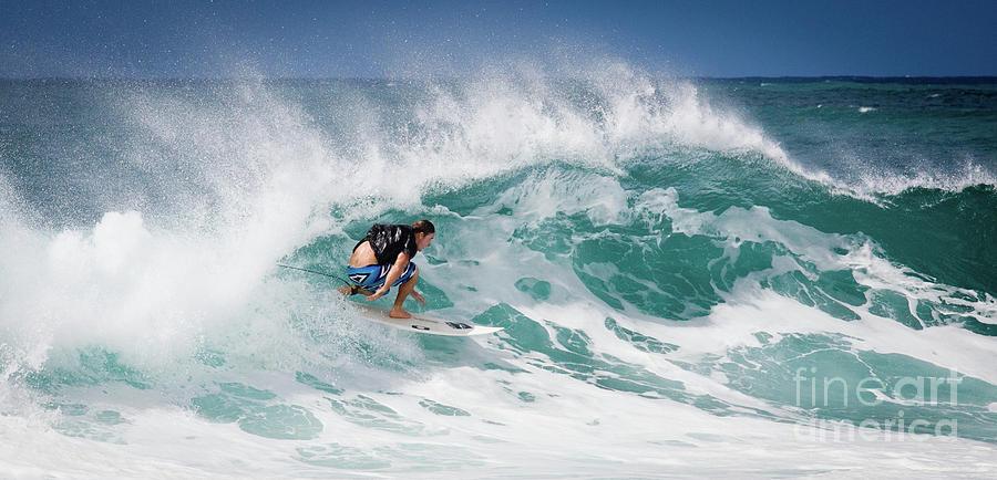 Oahu Photograph - Big Wave Surfer At La Perouse Bay Maui by Denis Dore