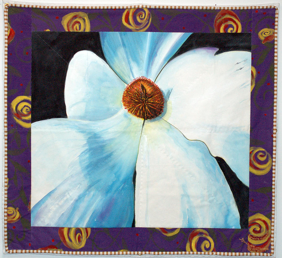 Quilt Painting - Big White Flower by Grace Matthews