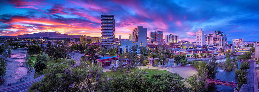 Reno Photograph - Biggest Little Sunset by Tony Fuentes