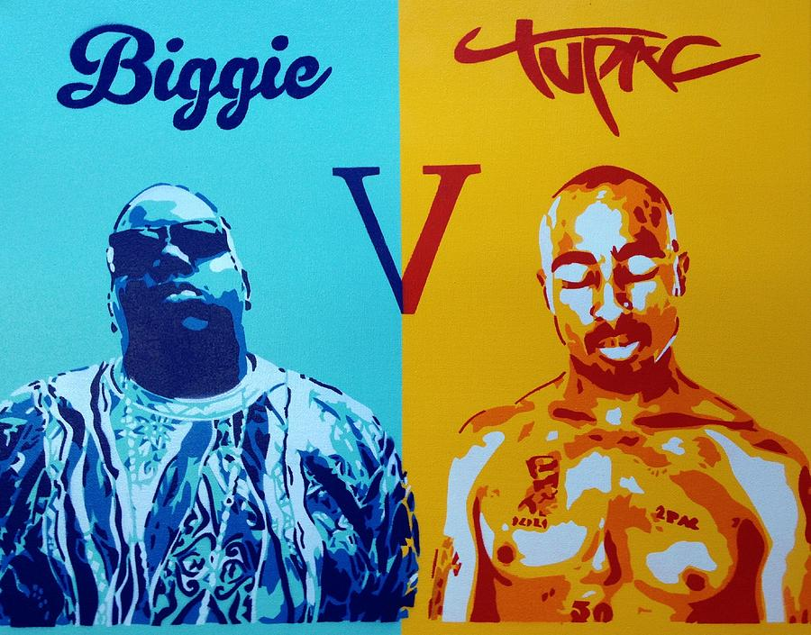 Biggie V Tupac Painting by Leon Keay Tupac And Biggie Painting