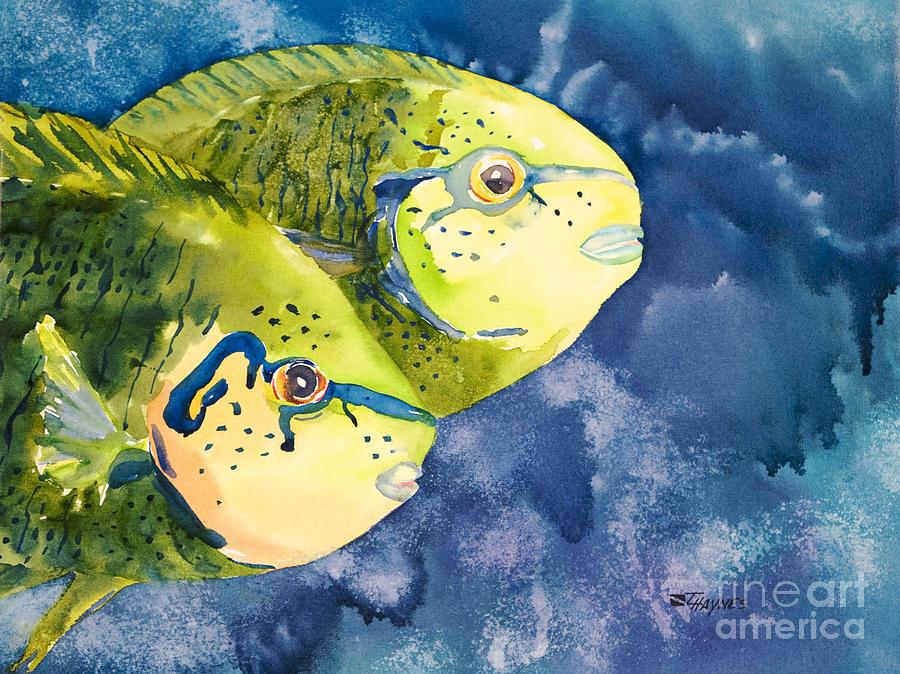 Aquatic Painting - Bignose Unicornfish by Tanya L Haynes - Printscapes