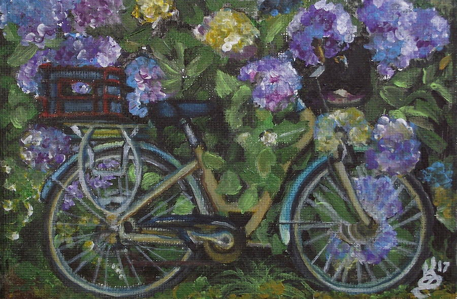 Acrylic Painting - Bike And Bush by Kim Selig
