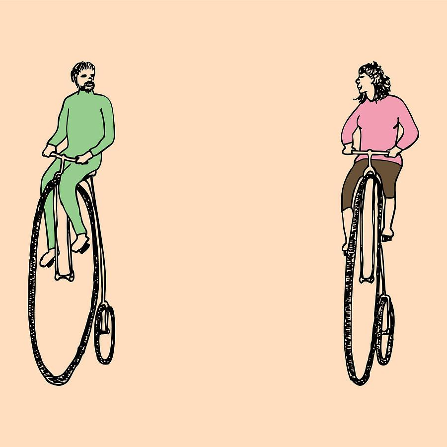 Bike Drawing - Bike Buddies by Karl Addison