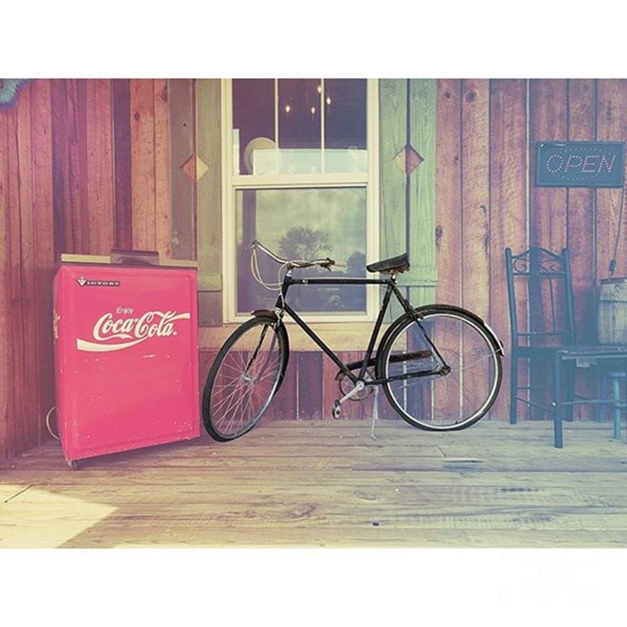 Vintage Photograph - Bike By A Window brighton Illinois by Larry Braun