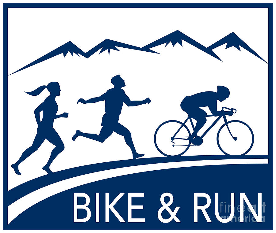 Marathon Digital Art - Bike Cycle Run Race by Aloysius Patrimonio