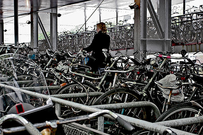 Transporation Digital Art - Bike Lady by Paula Brooks